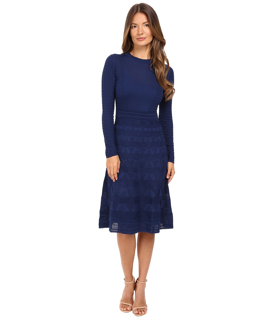 M Missoni Solid Crew Neck Long Sleeve Mid Length Dress (Navy) Women