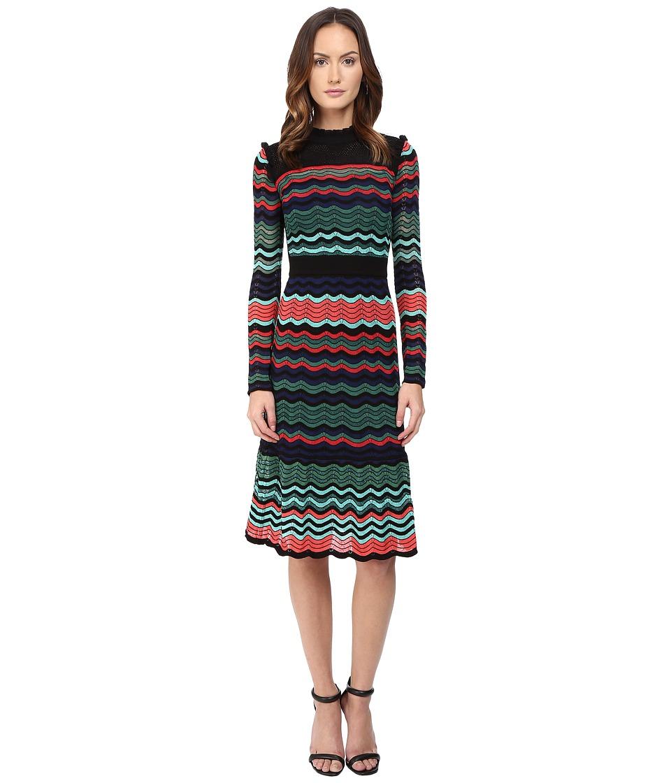 M Missoni Colorful Ripple Stitch Long Sleeve Mid Length Dress w/ Ruffle Collar (Coral) Women