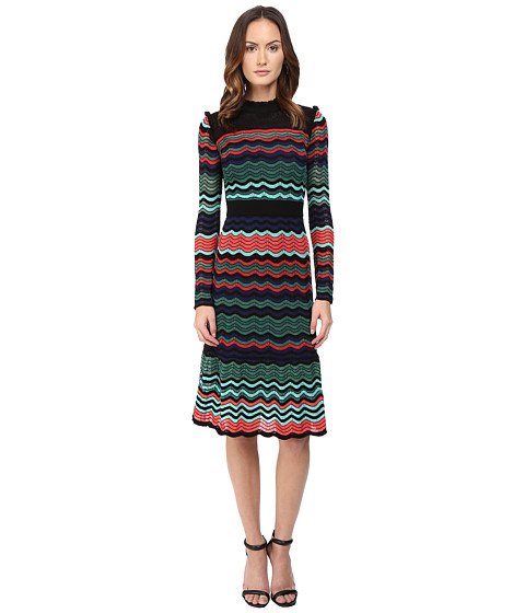 M Missoni Colorful Ripple Stitch Long Sleeve Mid Length Dress w/ Ruffle Collar