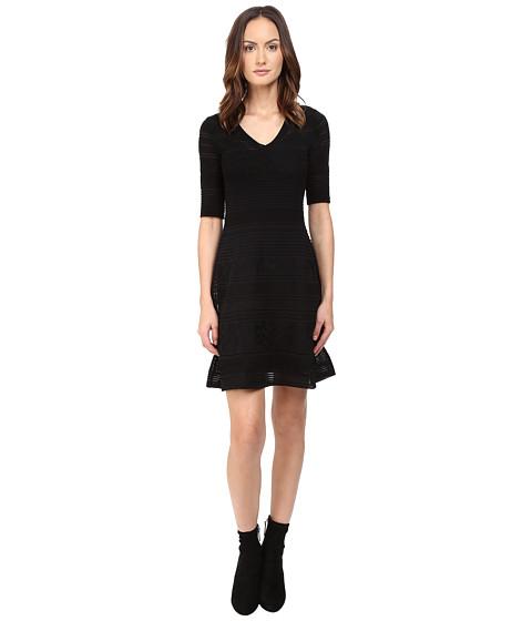 M Missoni Solid Ribstitch V-Neck Short Sleeve Dress