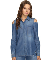 7 For All Mankind - Long Sleeve Cold Shoulder Denim Shirt in Authentic Vista Blue