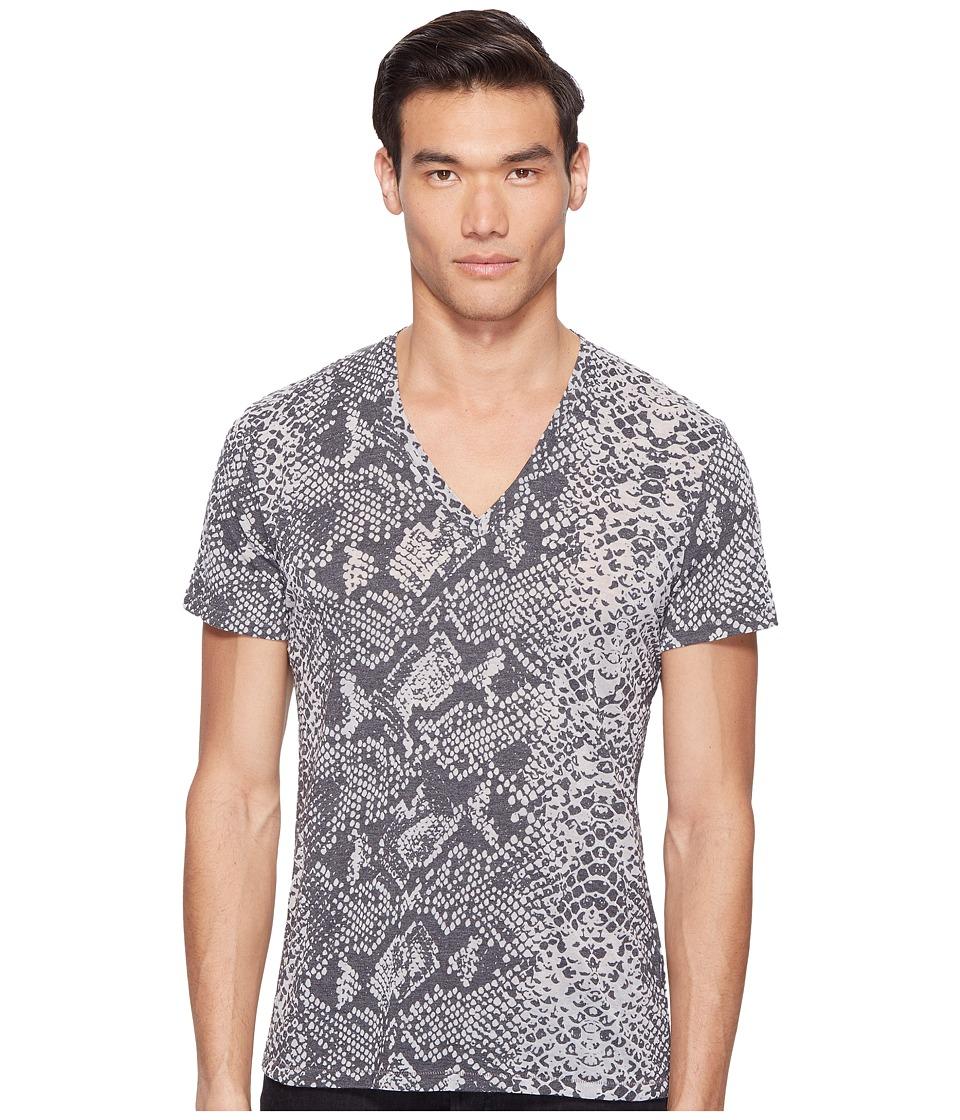 Just Cavalli Snakeskin Print V-Neck T-Shirt (Black) Men