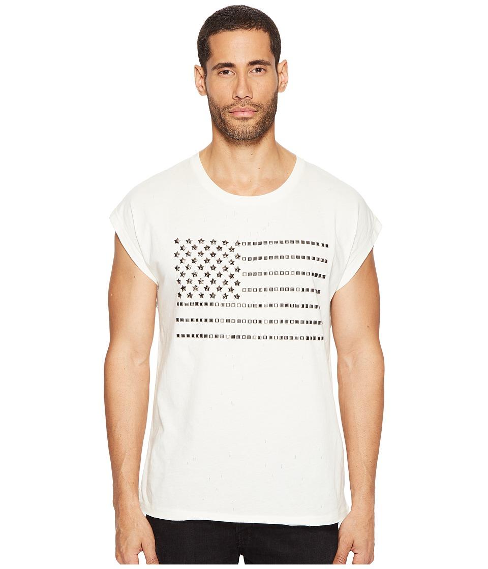 Just Cavalli Studded Flag Sleeveless T-Shirt (White Milk) Men