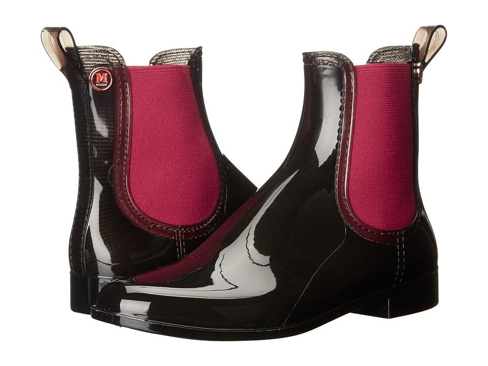 M Missoni - Ankle Rain Boots, Black with Red Trim (Black) Women