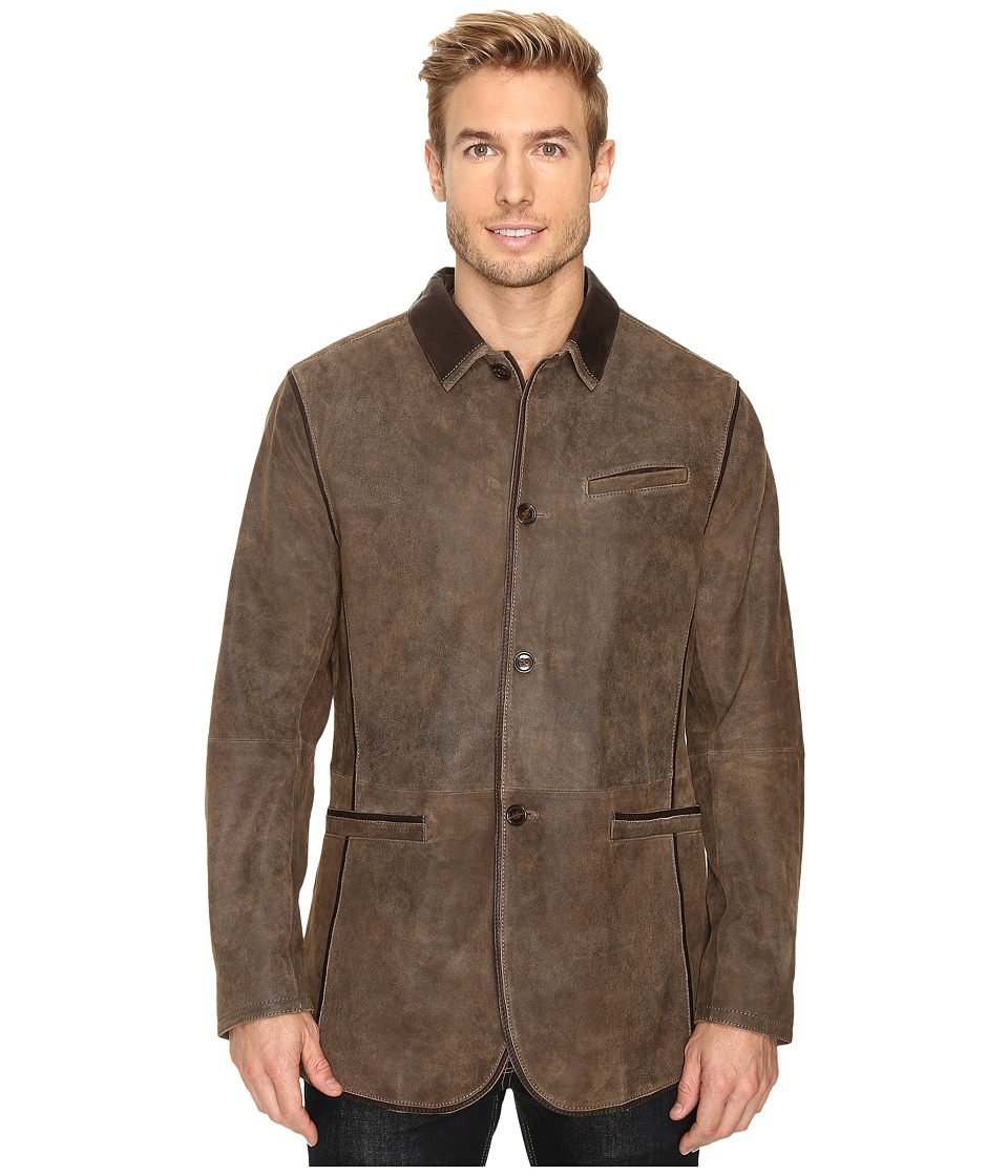 Scully Manor Mansion Goatskin Leather Elbow Patch Blazer (Brown) Men