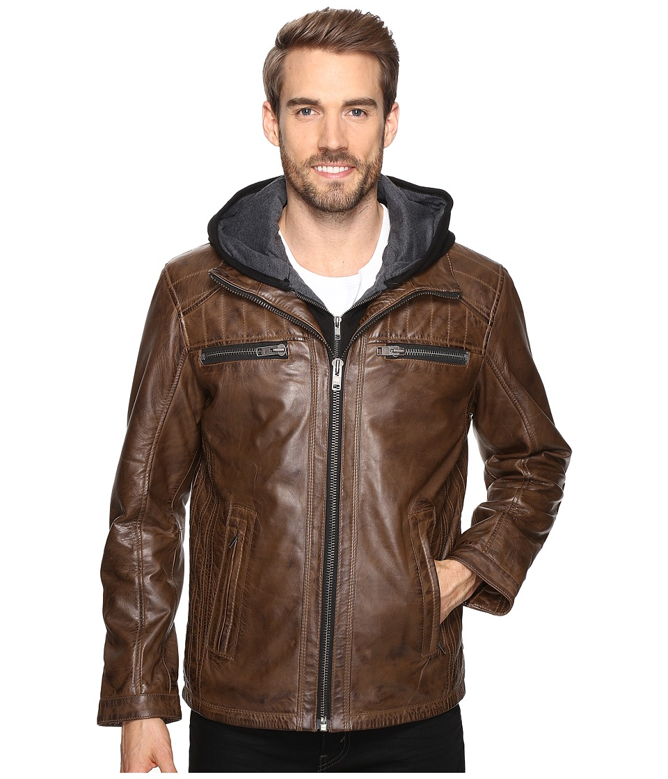 Scully Karl Leather Jacket with Zip Out Hoodie (Brown) Me...