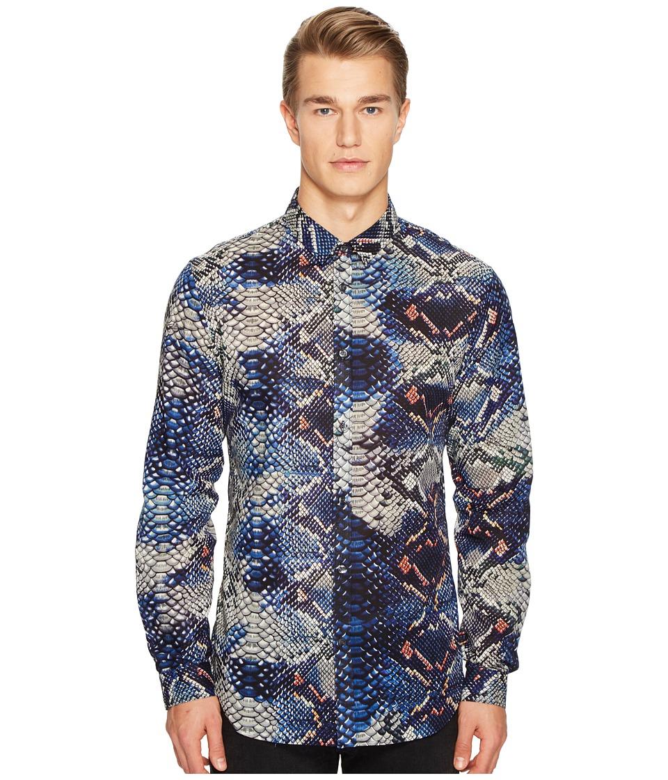 Just Cavalli Python Tie-Dye Print Shirt (Blue) Men