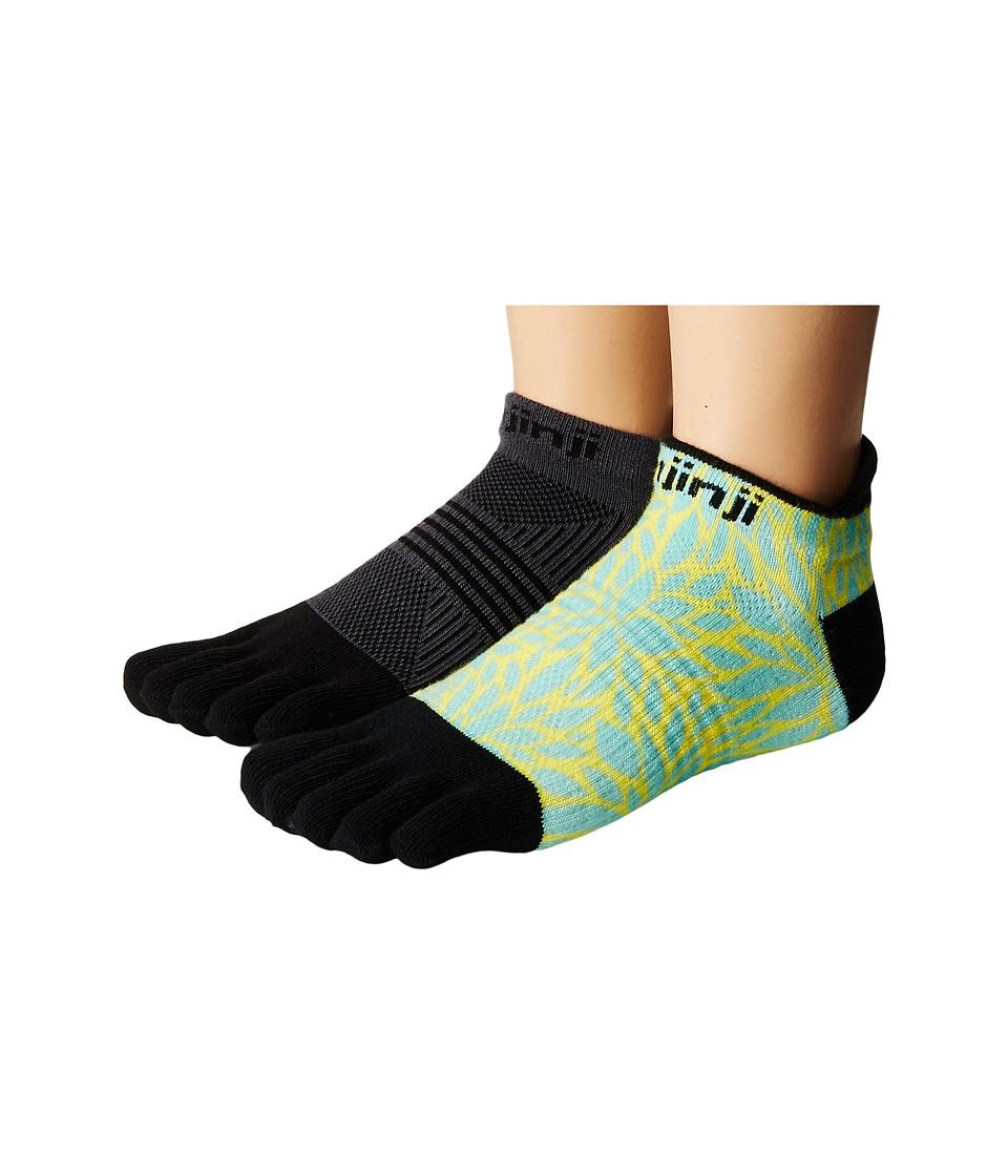 Injinji - Run Lightweight No Show 2-Pack (Fern/Black/Gray) Women's No Show Socks Shoes