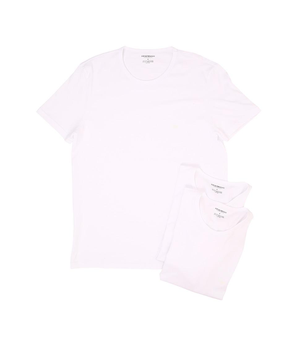 Emporio Armani - 3-Pack Crew Neck T-Shirt (White/White/White) Mens T Shirt