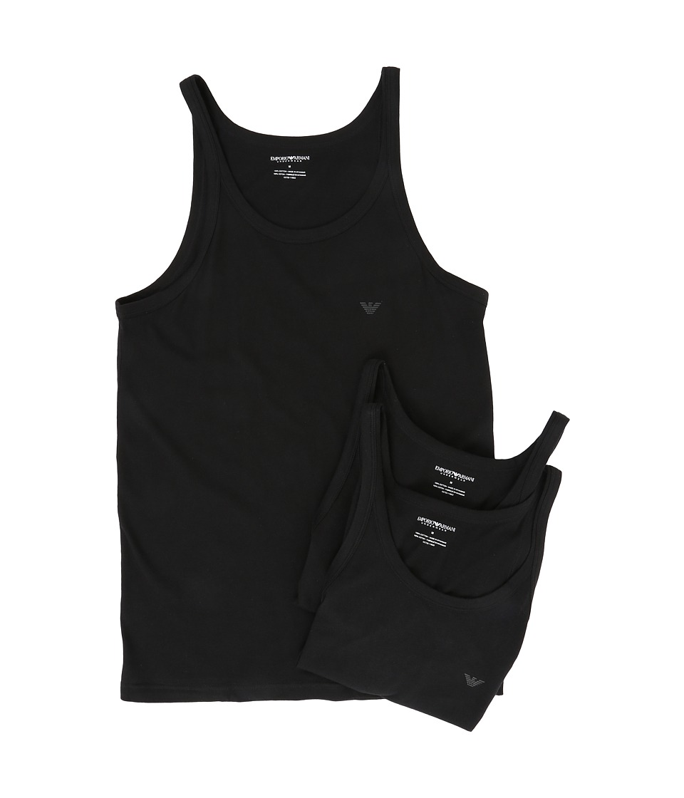 Emporio Armani - 3-Pack Tank Top (Black/Black/Black) Mens Clothing