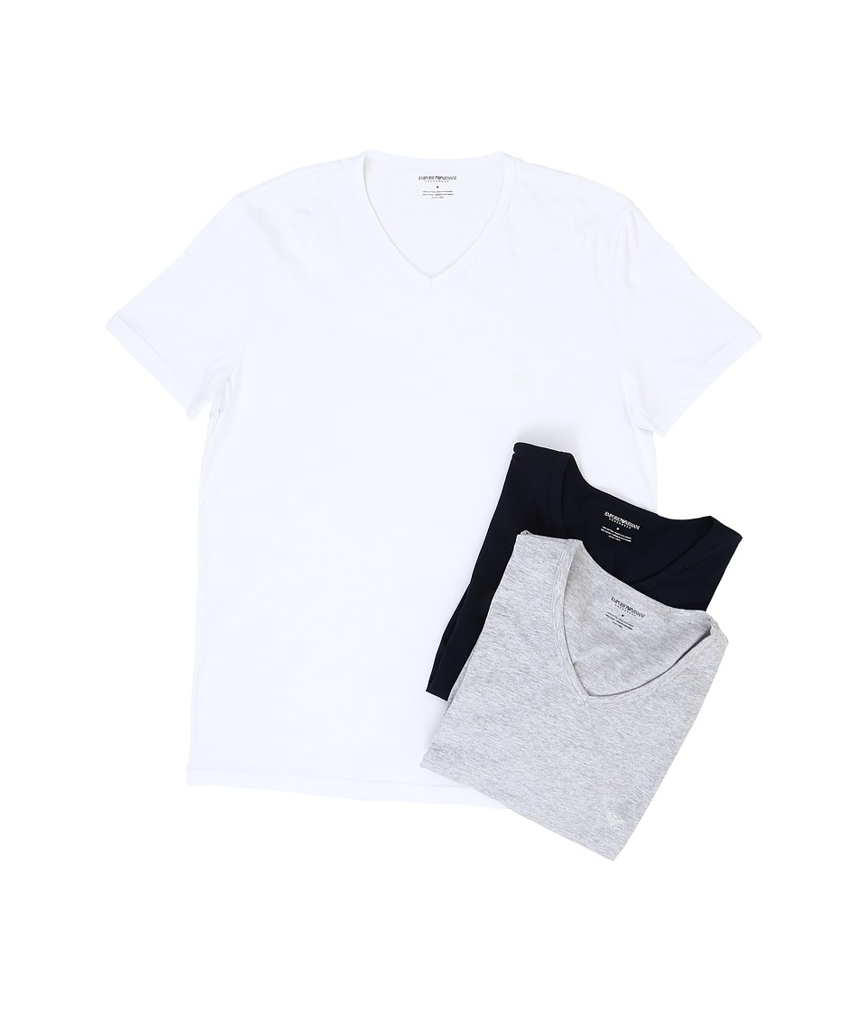 Emporio Armani - 3-Pack V-Neck T-Shirt (White/Grey Melange/Navy) Mens T Shirt