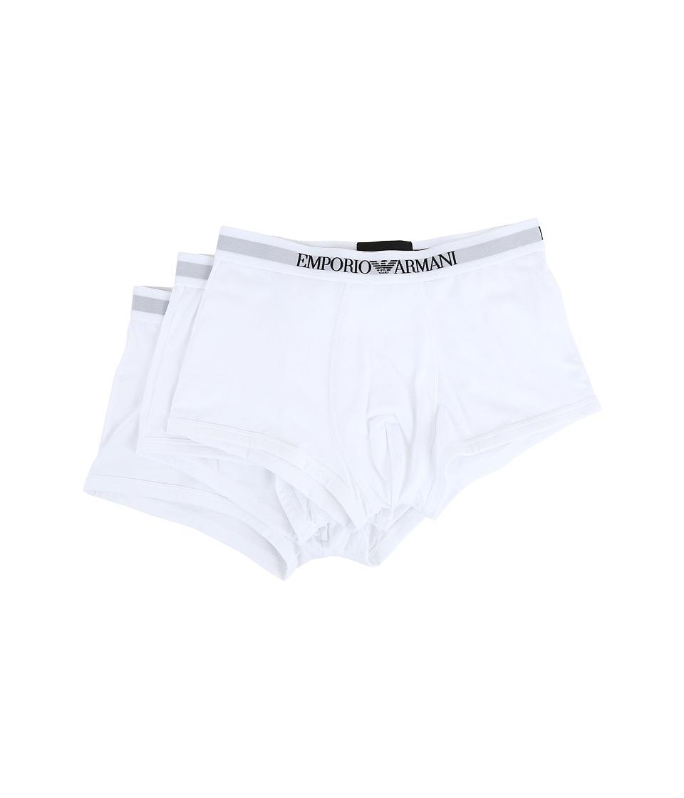 Emporio Armani - 3-Pack Trunk (White/White/White) Men's U...