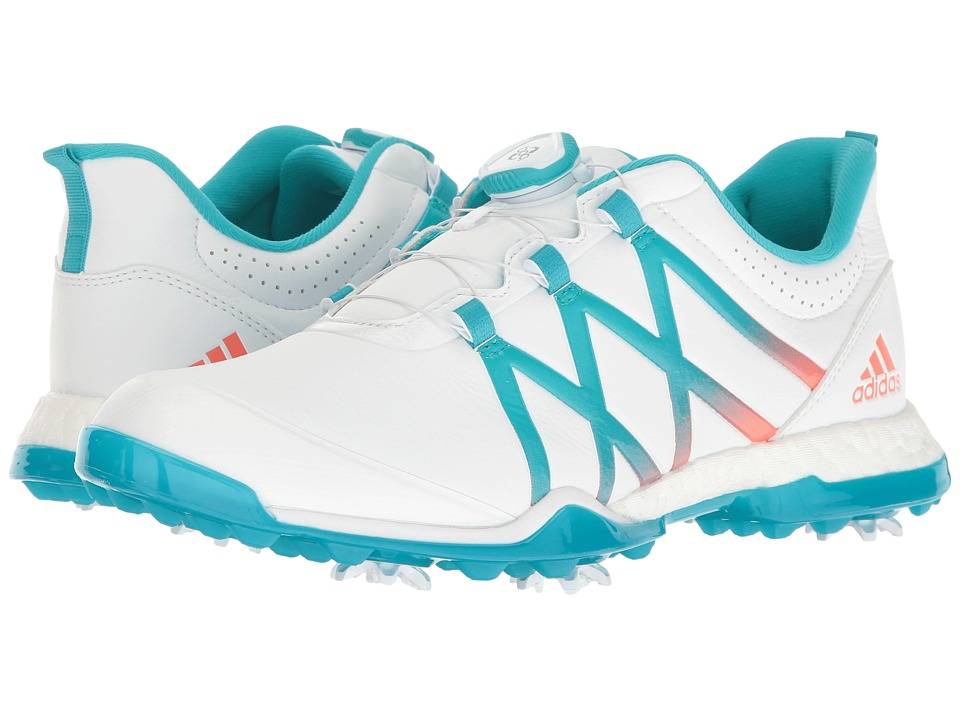 Image of adidas Golf - adiPower Boost Boa (Ftwr White/Energy Blue/Easy Coral) Women's Golf Shoes