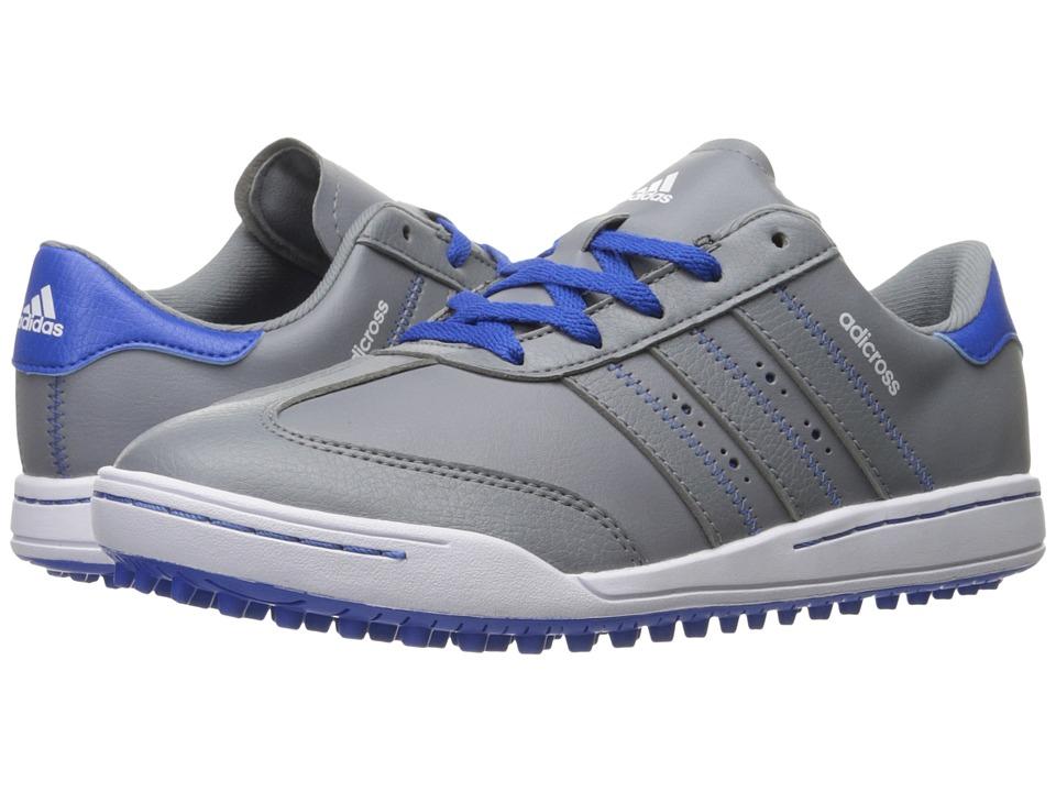 adidas Golf Jr. Adicross V (Little Kid/Big Kid) (Grey/Grey/Blue) Men\u0027s Golf  Shoes