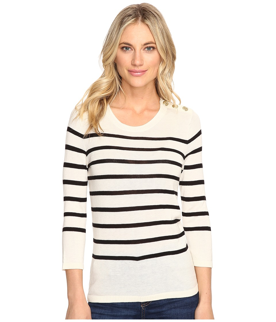 kensie - Cotton Blend Sweater with Stripes KS1K5674