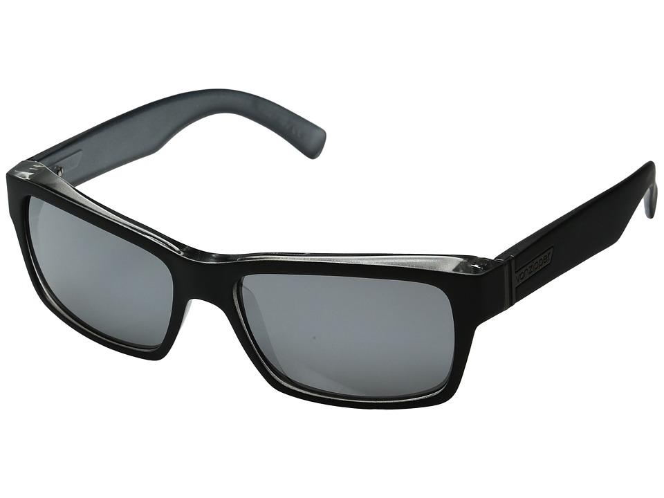 VonZipper Fulton (Black Steel/Silver Grey Chrome) Plastic Frame Sport Sunglasses
