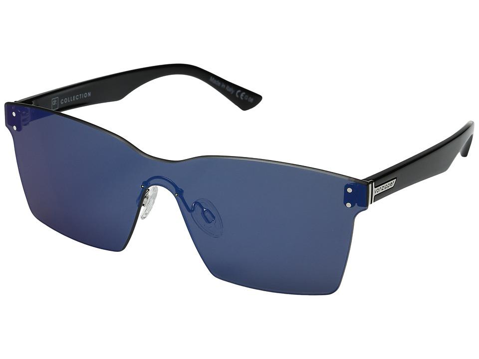 VonZipper Alt-Lesmore (Black Gloss/Flash Blue) Fashion Sunglasses