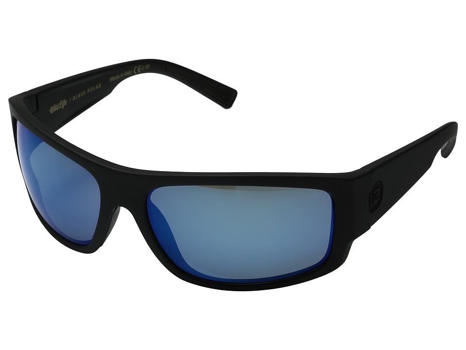 VonZipper Semi Polar (Black Satin/Wild Glass Blue Chrome) Polarized Fashion Sunglasses