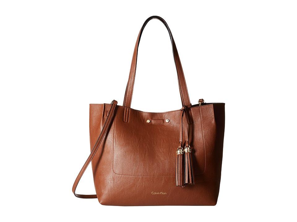 Calvin Klein - Pebble Tote (Luggage/Black) Tote Handbags