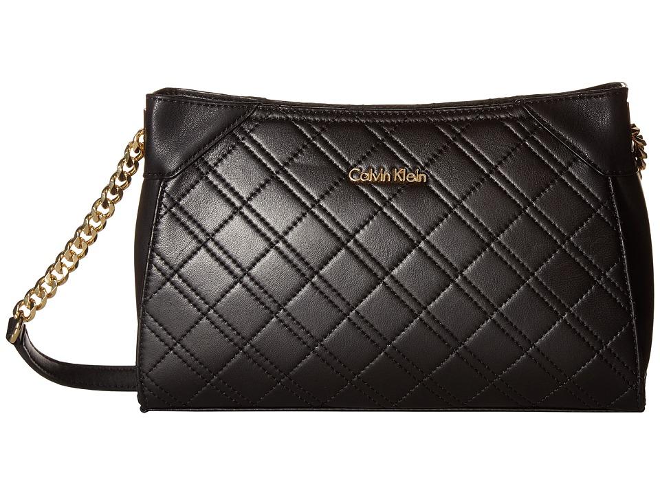 Calvin Klein - Quilted Lamb Crossbody (Black/Gold) Cross Body Handbags
