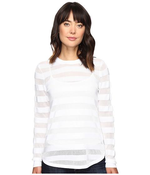 MICHAEL Michael Kors Sheer Stripe Long Sleeve Crew - White