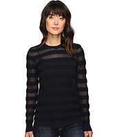 MICHAEL Michael Kors - Sheer Stripe Long Sleeve Crew