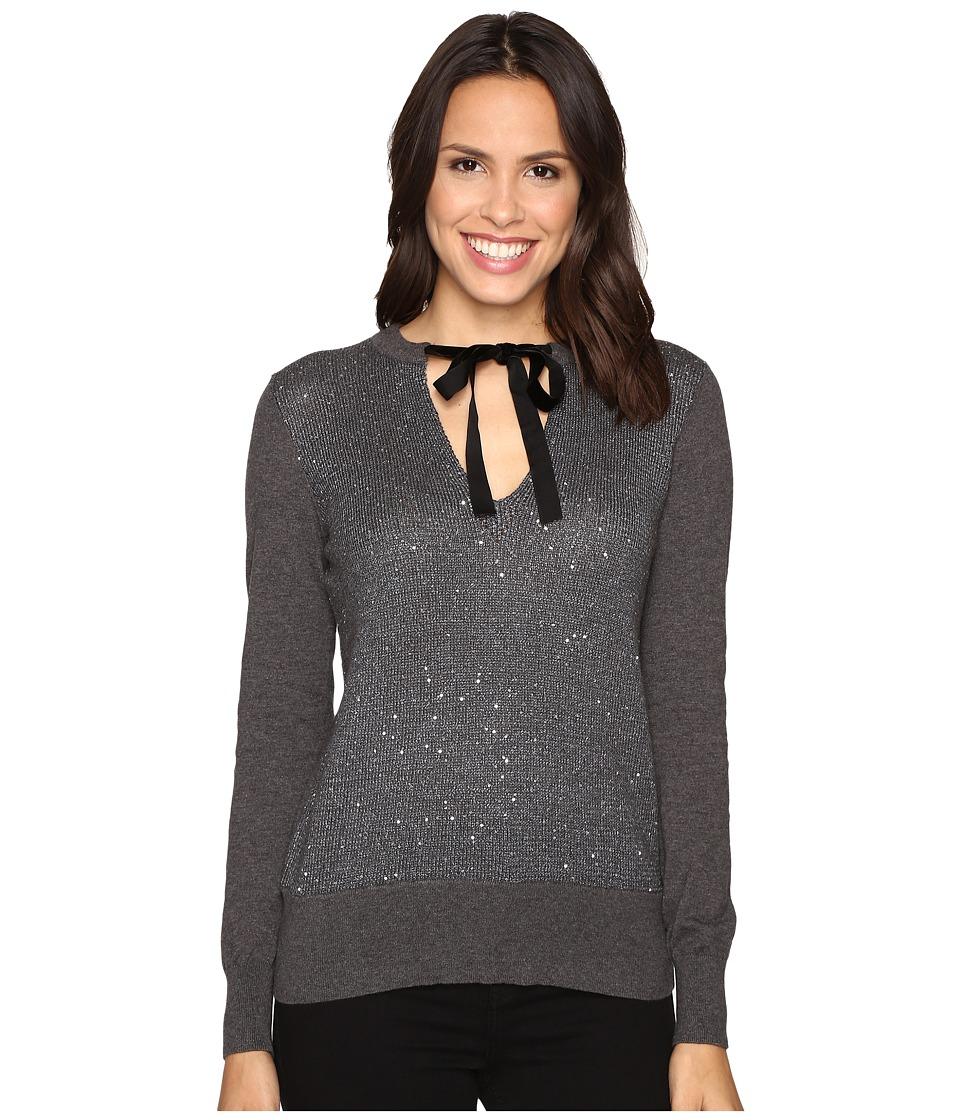 MICHAEL Michael Kors Velvet Tie Sequin Sweater (Gunmetal) Women