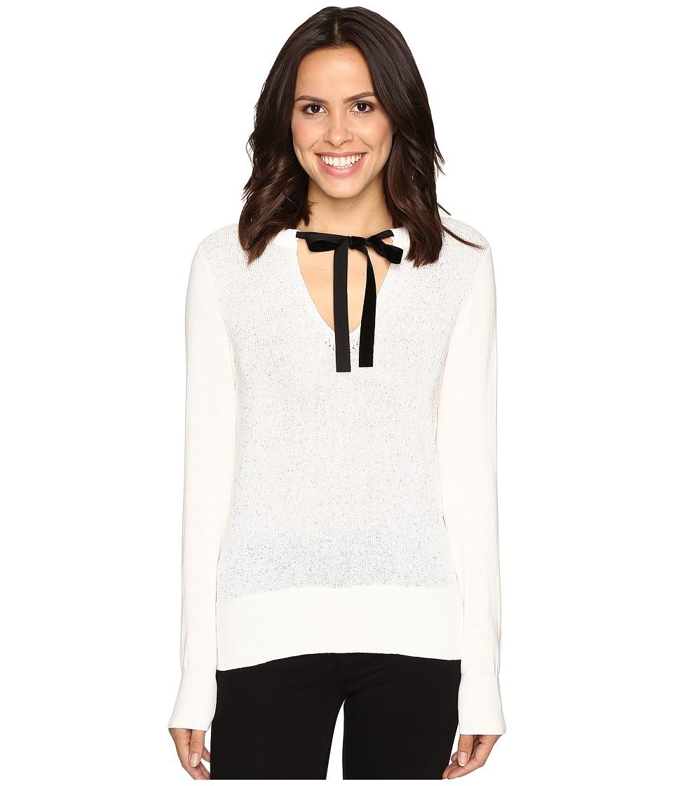 MICHAEL Michael Kors Velvet Tie Sequin Sweater (Ecru) Women