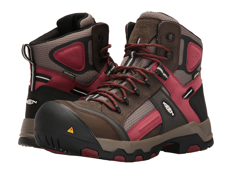 Keen Utility Davenport Mid Waterproof (Cascade Brown/Red Dahlia) Men