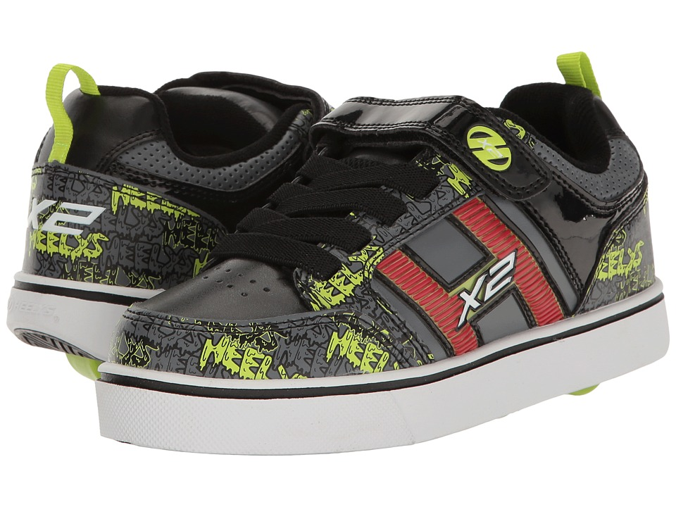 Heelys Bolt Plus X2 (Little Kid/Big Kid) (Black/Grey/Bright Yellow) Boys Shoes