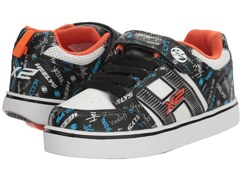 Heelys Bolt Plus X2 (Little Kid/Big Kid) (Black/White/Orange/Cyan) Boys Shoes