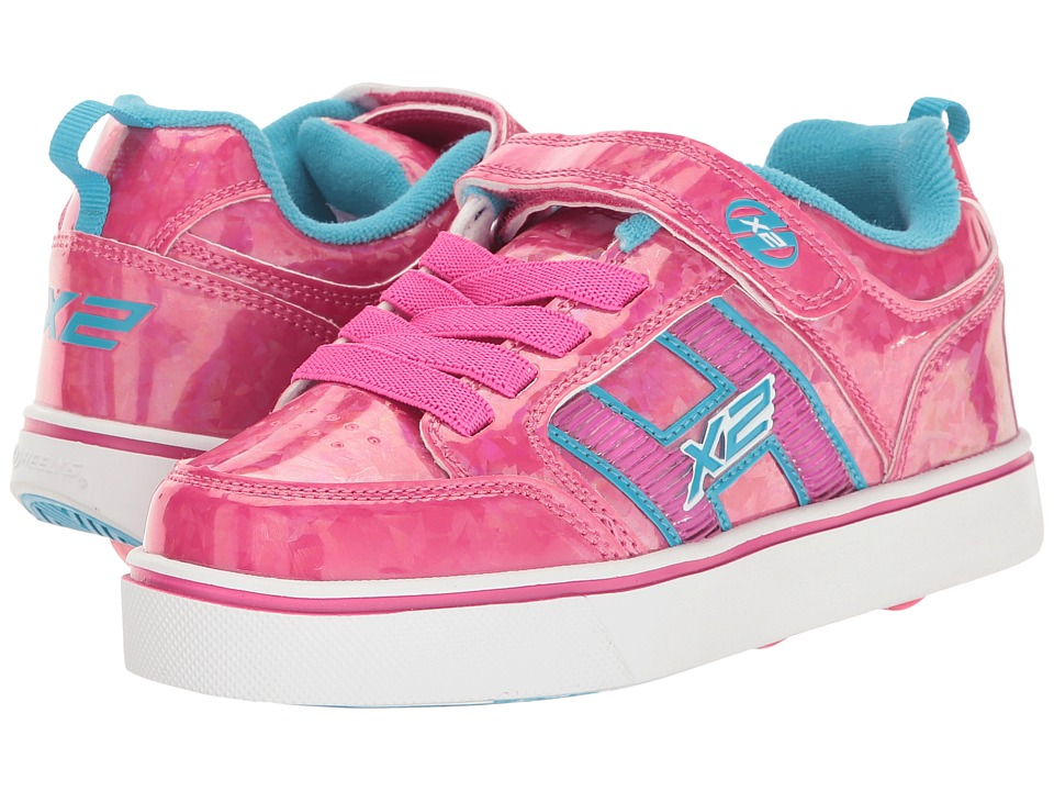 Heelys Bolt Plus X2 (Little Kid/Big Kid) (Hot Pink Hologram/Neon Blue) Girls Shoes
