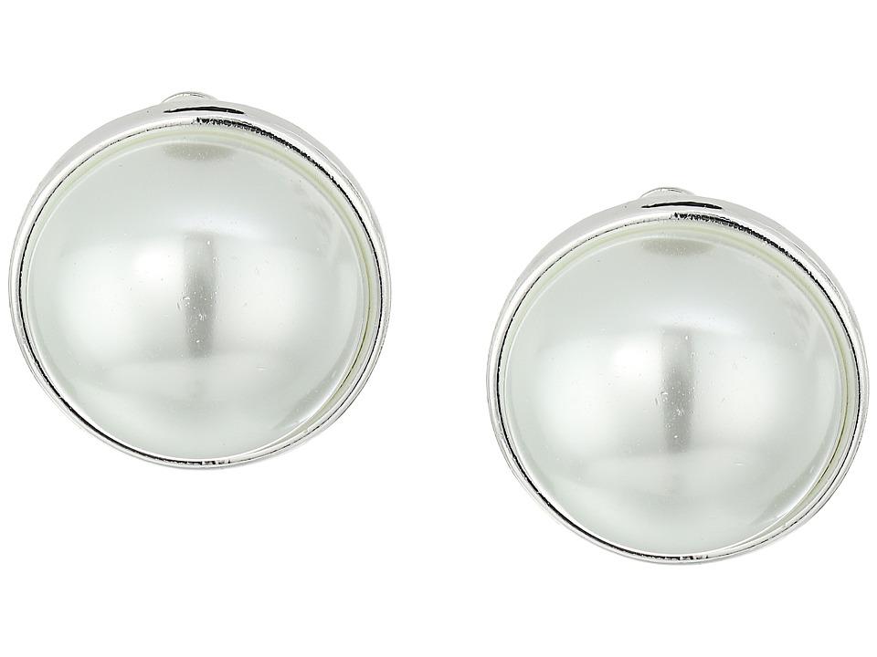 LAUREN Ralph Lauren - Back to Basics II 18mm Silver Button Clip Earrings (Silver) Earring