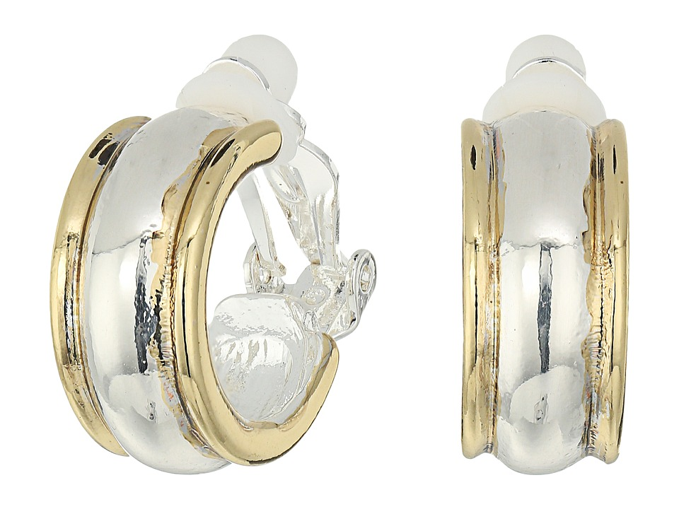 LAUREN Ralph Lauren - Back to Basics II Two-Tone Wedding Band Clip Hoop Earrings (Two-Tone) Earring