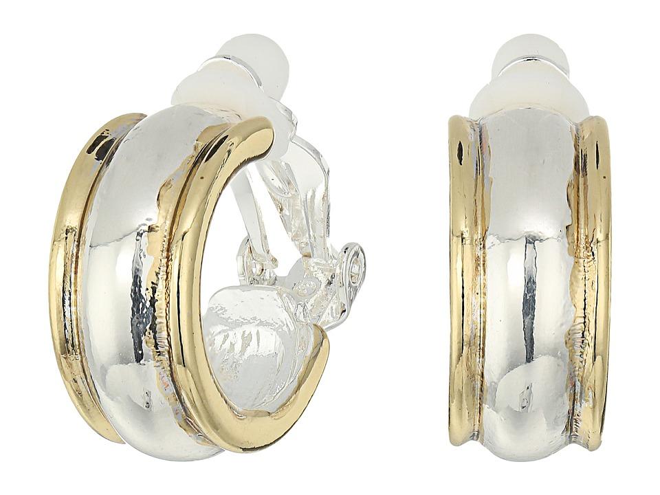 LAUREN Ralph Lauren - Back to Basics II Two-Tone Wedding Band Clip Hoop Earrings (Two-Tone) Earring