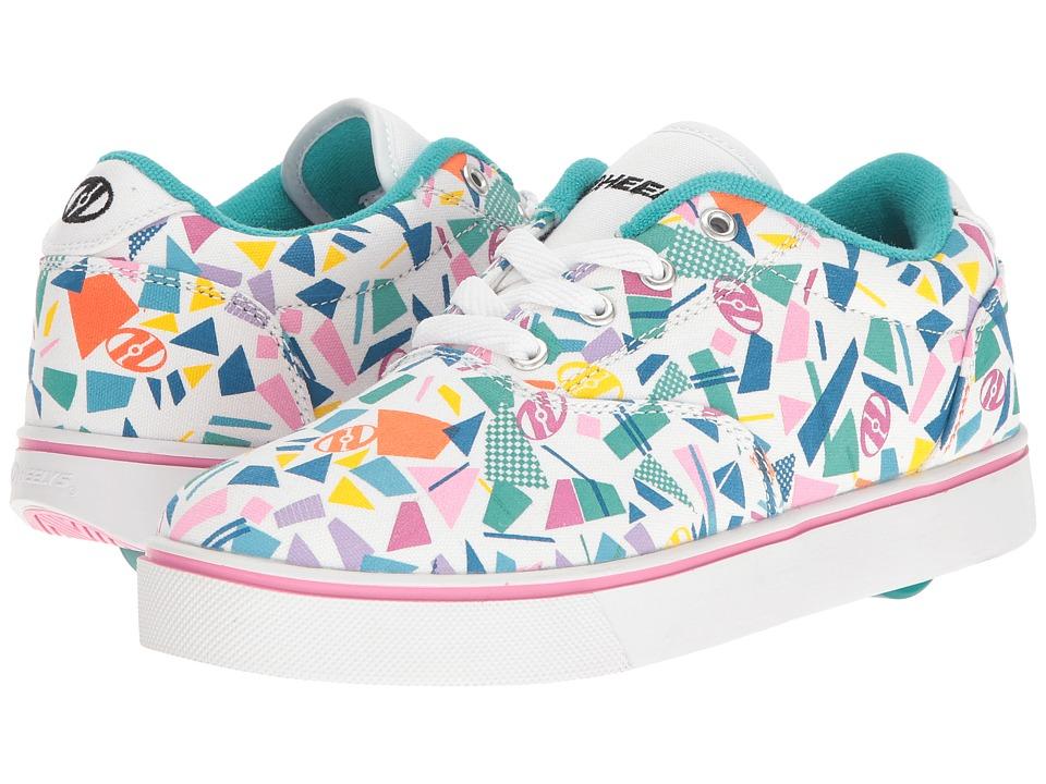 Heelys Launch (Little Kid/Big Kid/Adult) (White/Teal/Multi Geo) Girls Shoes