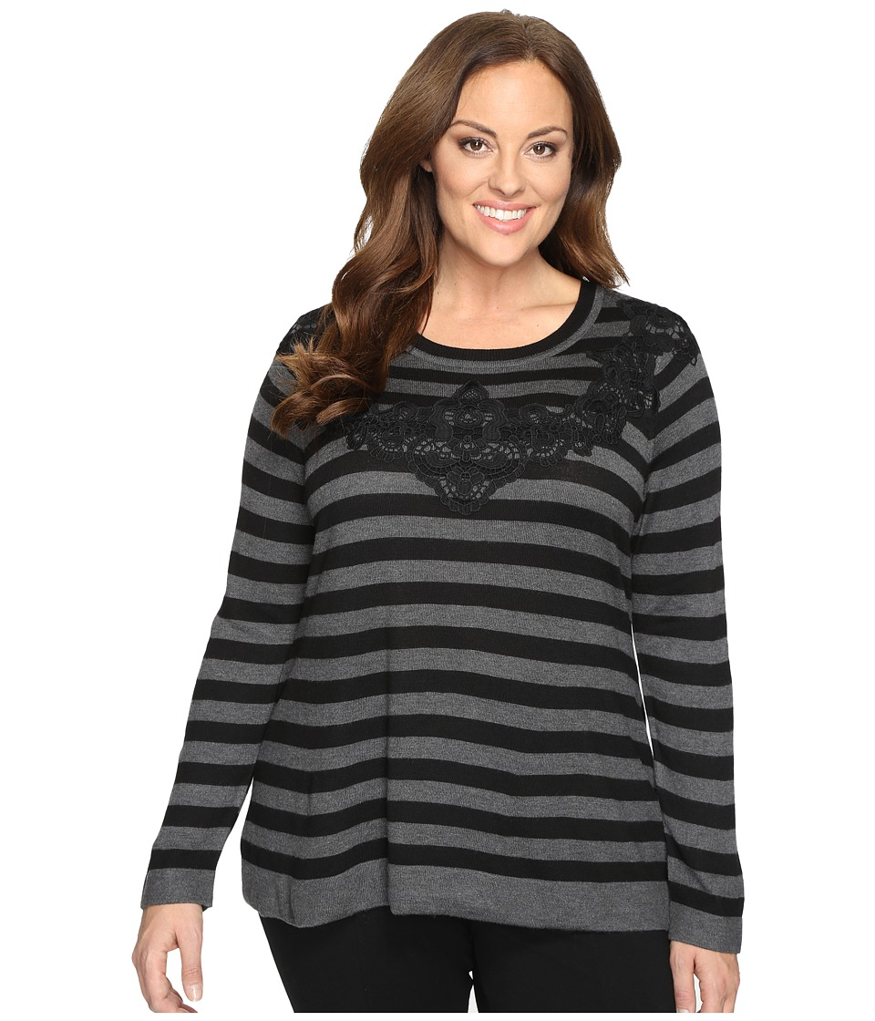 Vince Camuto Plus Plus Size Long Sleeve Stripe Sweater with Lace Applique (Medium Heather Grey) Women