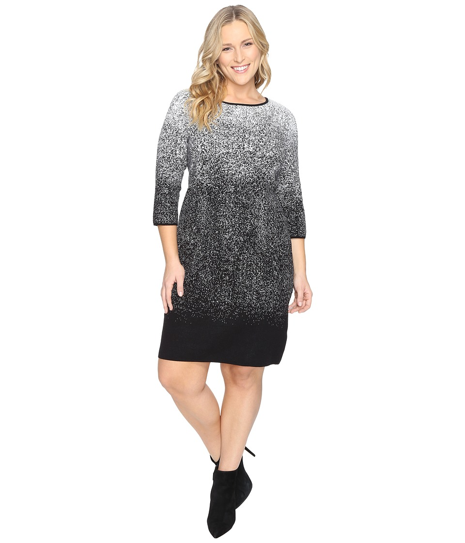 Vince Camuto Plus Plus Size 3/4 Sleeve Ombre Jacquard Sweater Dress (New Ivory) Women
