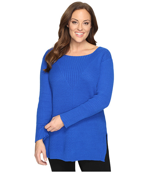 Vince Camuto Specialty Size Plus Size Long Sleeve Ribbed V Textured Sweater