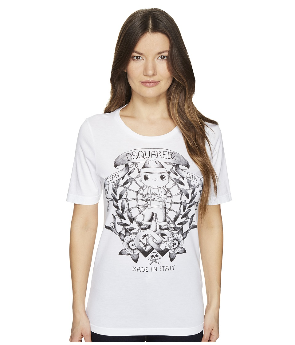 DSQUARED2 Renny Fit Soft Print T-Shirt (White) Women
