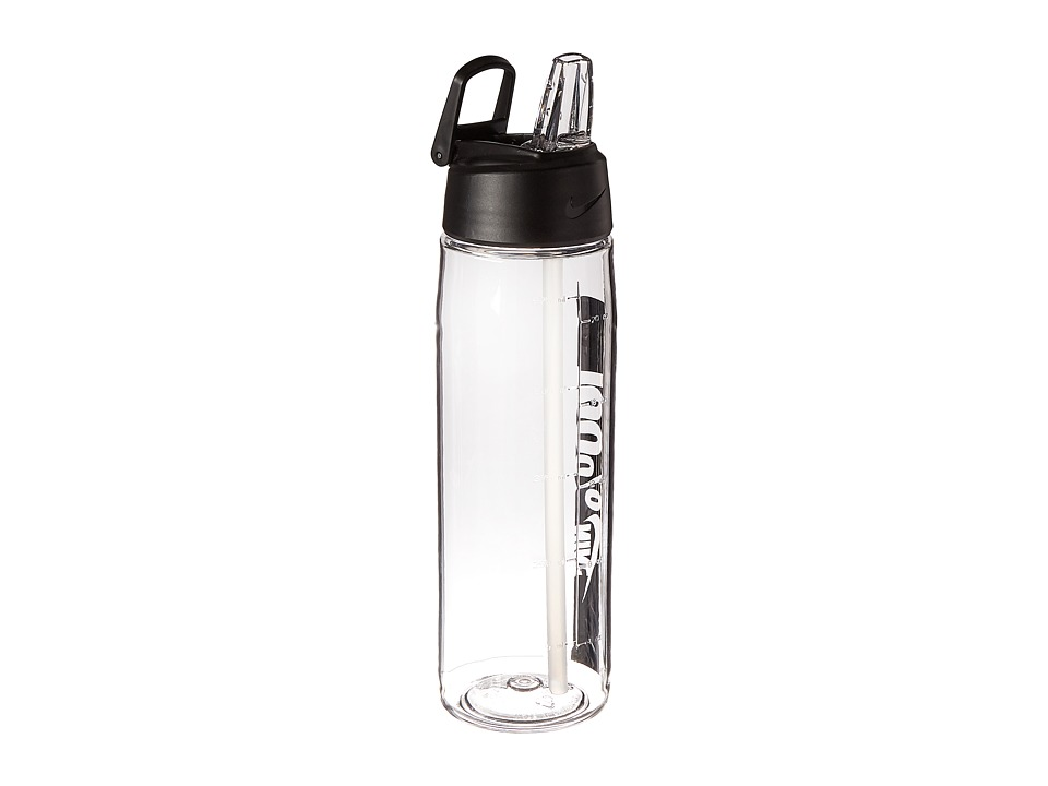 Nike - Core Flow 100 Water Bottle 24oz (Clear/Black) Athletic Sports Equipment