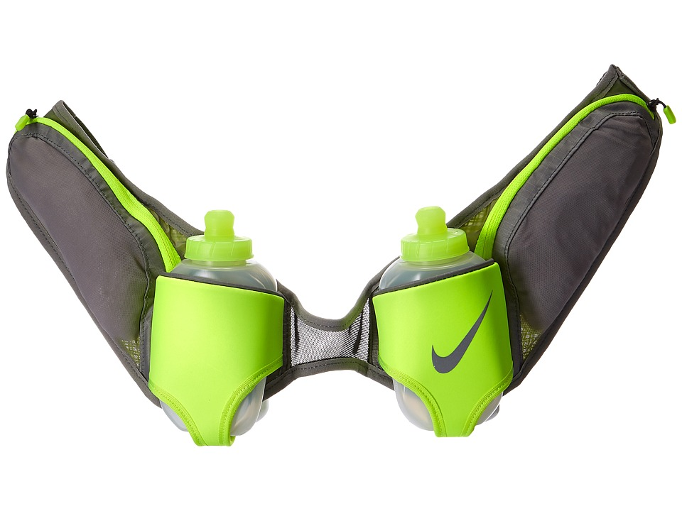 Nike Double Flask Belt 20oz (Dust/Volt/Silver) Athletic S...