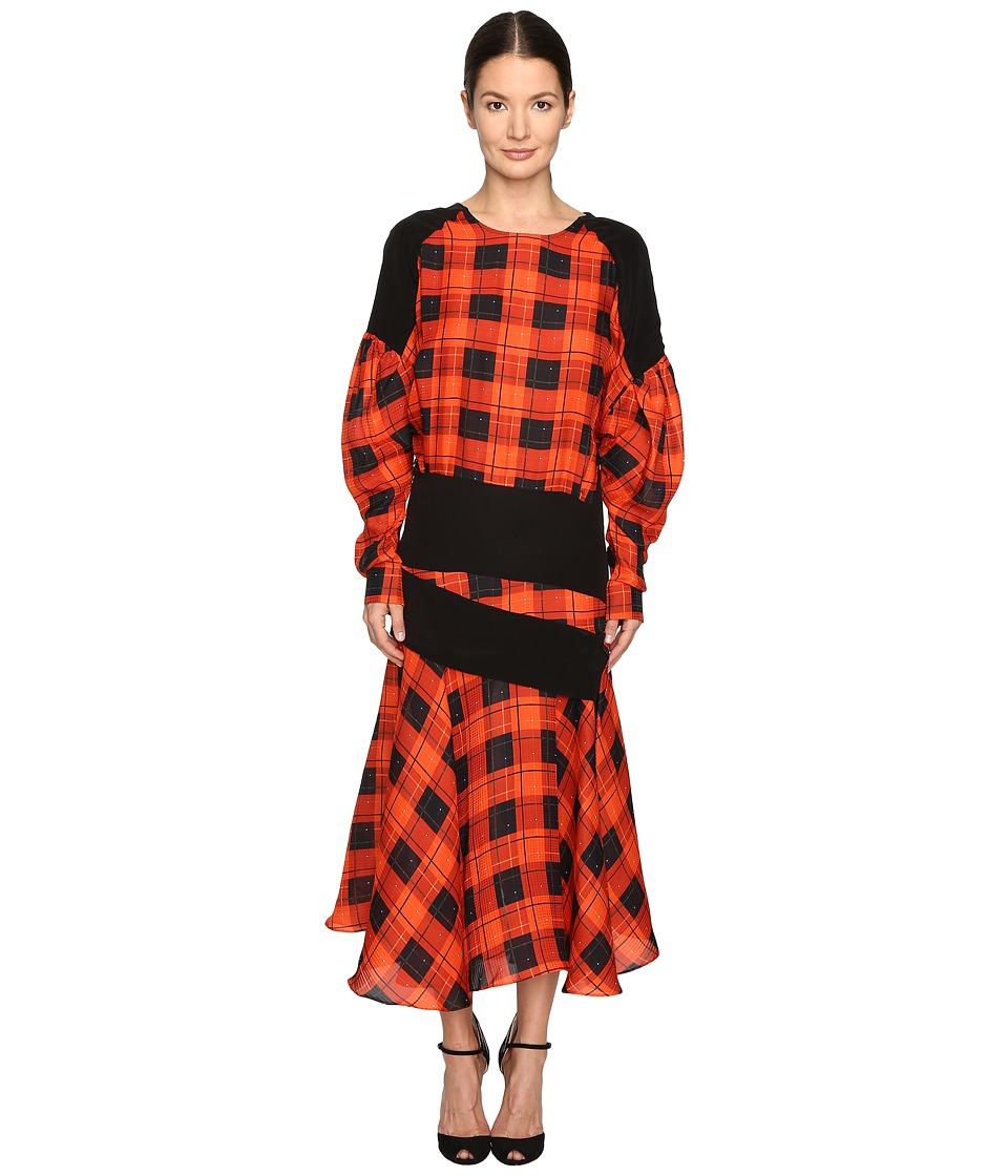 Preen by Thornton Bregazzi Luke Printed Hammered Silk Dress (Red Check/Black) Women