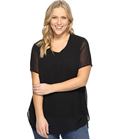 Vince Camuto Specialty Size - Plus Size Short Sleeve Crew Neck Chiffon Overlay Blouse