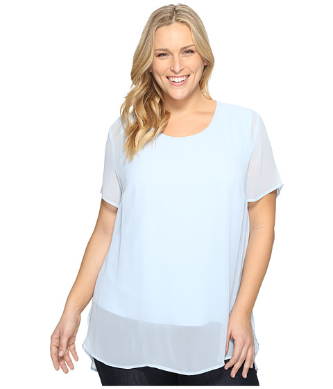 Vince Camuto Specialty Size Plus Size Short Sleeve Crew Neck Chiffon Overlay Blouse - Dew Blue