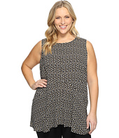 Vince Camuto Specialty Size - Plus Size Sleeveless Deco Layer Dots Ruffle Front Blouse