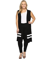 Vince Camuto Specialty Size - Plus Size Sleeveless Milano Stripe Open Front Cardigan