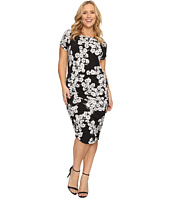 Vince Camuto Specialty Size - Plus Size Short Sleeve Petal Cascade Ruched Dress