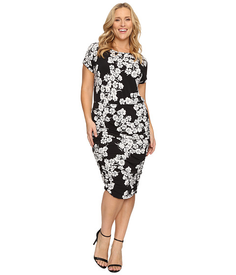 Vince Camuto Specialty Size Plus Size Short Sleeve Petal Cascade Ruched Dress