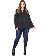 Vince Camuto Plus - Plus Size Long Sleeve Cold-Shoulder Invert Pleat V-Neck Blouse